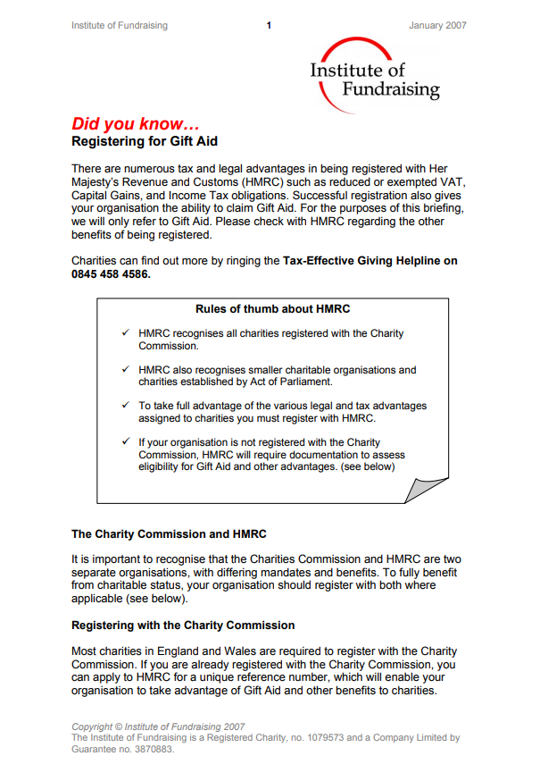 Charity finance group resources registering for gift aid negle Images